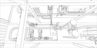 Βιομηχανικός εξοπλισμός. Το καλώδιο-πλαίσιο τρισδιάστατο δίνει διανυσματική απεικόνιση