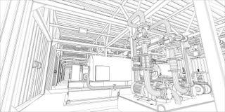 Βιομηχανικός εξοπλισμός. Το καλώδιο-πλαίσιο τρισδιάστατο δίνει ελεύθερη απεικόνιση δικαιώματος
