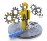 Βιομηχανικός εργάτης με το γαλλικό κλειδί και τα εργαλεία απεικόνιση αποθεμάτων