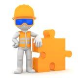 Βιομηχανικός εργάτης με το κομμάτι του γρίφου απεικόνιση αποθεμάτων