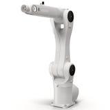 Βιομηχανικός ρομποτικός βραχίονας στην άσπρη τρισδιάστατη απεικόνιση ελεύθερη απεικόνιση δικαιώματος