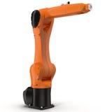 Βιομηχανικός ρομποτικός βραχίονας στην άσπρη τρισδιάστατη απεικόνιση απεικόνιση αποθεμάτων