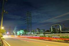 Βιομηχανικός σύνθετος τη νύχτα στοκ εικόνες