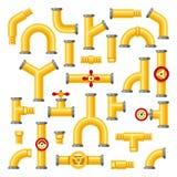 βιομηχανικός χάλυβας σωλήνων σωληνώσεων αερίου λεπτομέρειας περιοχής κίτρινος Οι βιομηχανικοί κίτρινοι σωλήνες, κατασκευή σωλήνων απεικόνιση αποθεμάτων