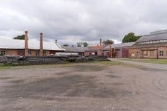 Βιομηχανικό αναμνηστικό Forsvik Bruk σε Forsvik, Σουηδία Στοκ φωτογραφίες με δικαίωμα ελεύθερης χρήσης