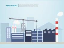 Βιομηχανικό διάνυσμα εργοστασίων του επίπεδου ύφους οικοδόμησης κατασκευής διανυσματική απεικόνιση