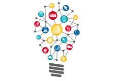Βιομηχανικό Διαδίκτυο της έννοιας πραγμάτων που αντιπροσωπεύεται από τη λάμπα φωτός Έννοια των αποδιοργανωτικών νέων επιχειρησιακ