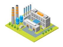 Βιομηχανικό εργοστάσιο που χτίζει τη Isometric άποψη διάνυσμα διανυσματική απεικόνιση