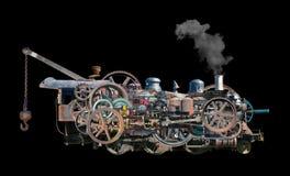 Βιομηχανικό κινητήριο τραίνο ατμού που απομονώνεται Στοκ εικόνες με δικαίωμα ελεύθερης χρήσης