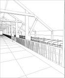 Βιομηχανικό κτήριο καλώδιο-πλαισίων εσωτερικό στο λευκό Επισημαίνοντας απεικόνιση τρισδιάστατου απεικόνιση αποθεμάτων