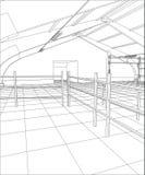 Βιομηχανικό κτήριο καλώδιο-πλαισίων εσωτερικό στο λευκό Επισημαίνοντας απεικόνιση τρισδιάστατου ελεύθερη απεικόνιση δικαιώματος