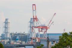 Βιομηχανικό υπόβαθρο σκηνής Τοπίο της βιομηχανίας στο λιμένα Στοκ εικόνες με δικαίωμα ελεύθερης χρήσης