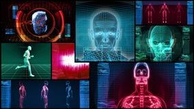 Βιονική τρισδιάστατη ιατρική επιστήμη Montage (4K βρόχος) ελεύθερη απεικόνιση δικαιώματος