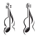 Βιολί, κιθάρα και σημείωση Στοκ Εικόνες