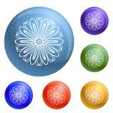 Βιο εικονίδια λουλουδιών χορταριών καθορισμένα διανυσματικά διανυσματική απεικόνιση