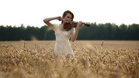 Βιολιστής κοριτσιών που παίζει το βιολί στον τομέα σίτου φιλμ μικρού μήκους