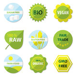 Βιο και υγιείς ετικέτες τροφίμων Στοκ Εικόνες