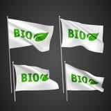 Βιο με το φύλλο - άσπρες διανυσματικές σημαίες Στοκ Εικόνες