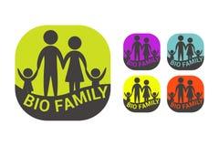 Βιο οικογενειακή ζωηρόχρωμη διανυσματική αυτοκόλλητη ετικέττα Οργανικό σύνολο ετικετών απεικόνιση αποθεμάτων