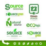 Βιο - οικολογία - πράσινο σύνολο εικονιδίων Στοκ Φωτογραφία