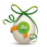 Βιο πράσινη κορδέλλα αυγών ετικετών ελεύθερη απεικόνιση δικαιώματος