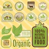 Βιο πρότυπα τροφίμων αγροτικού οργανικά eco υγιή και εκλεκτής ποιότητας vegan πράσινο χρώμα για το διάνυσμα διακριτικών επιλογών  ελεύθερη απεικόνιση δικαιώματος