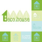 Βιο σύνολο εμβλημάτων σπιτιών Eco σχεδίου Στοκ Εικόνα