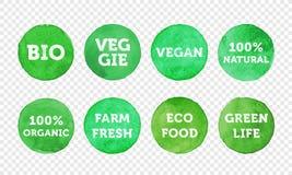 Βιο, χορτοφάγος, αγρόκτημα φρέσκο, vegan, 100 οργανικό και τοπικό σύνολο εικονιδίων ετικετών τροφίμων Στοκ εικόνα με δικαίωμα ελεύθερης χρήσης