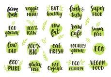 Βιο, eco, οργανικά λογότυπα καθορισμένα απεικόνιση αποθεμάτων
