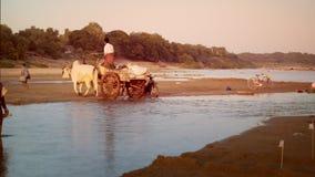 Βιρμανοί αγροτικοί λαοί που διασχίζουν τον ποταμό Irrawaddy Myanmar απόθεμα βίντεο