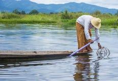 Βιρμανός ψαράς στη λίμνη inle Στοκ Εικόνα