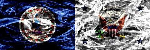 Βιρτζίνια εναντίον αντιπρόεδρος των σημαιών καπνού Ηνωμένης ζωηρόχρωμων έννοιας που τοποθετούνται δίπλα-δίπλα απεικόνιση αποθεμάτων
