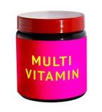 Βιταμίνες Mutli για το κτήριο σωμάτων Εμπορευματοκιβώτιο με την αθλητική διατροφή Στοκ Εικόνες