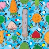 Βιταμίνη άνευ ραφής Pattern_eps παιχνιδιών τροφίμων Στοκ εικόνες με δικαίωμα ελεύθερης χρήσης