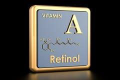 Βιταμίνη Α, ρετινόλη Εικονίδιο, χημικός τύπος, μοριακή δομή ελεύθερη απεικόνιση δικαιώματος