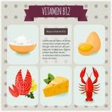 Βιταμίνη B12 στο μαύρο υπόβαθρο Διανυσματική απεικόνιση, eps 10 Φρούτα και λαχανικά με το σύνολο γραφικής παράστασης πληροφοριών  Στοκ εικόνες με δικαίωμα ελεύθερης χρήσης