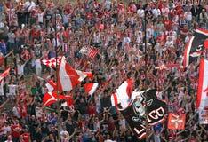 ΒΙΤΣΕΝΤΣΑ, VI, ΙΤΑΛΙΑ - 6 Απριλίου ανεμιστήρες κατά τη διάρκεια ενός ποδοσφαιρικού παιχνιδιού Στοκ Εικόνες