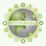 Βιώσιμος κόσμος που περιβάλλεται και φιαγμένος από βιο εικονίδια eco Στοκ εικόνα με δικαίωμα ελεύθερης χρήσης