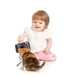 βλάστηση κατσικιών κοριτσιών γατών μικρή Στοκ Εικόνα