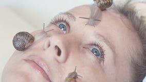 Βλέννα σαλιγκαριών η νέα τάση Skincare απόθεμα βίντεο