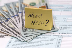 Βοήθεια ανάγκης κειμένων με τα χρήματα Στοκ Φωτογραφία