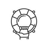 Βοήθεια και υποστήριξη - διανυσματικό σύγχρονο επεξηγηματικό εικονίδιο σχεδίου γραμμών Στοκ εικόνες με δικαίωμα ελεύθερης χρήσης