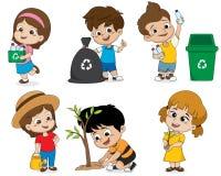 Βοήθεια παιδιών εκτός από τον κόσμο με των πλαστικών μπουκαλιών που ανακυκλώνονται τη συλλογή, απεικόνιση αποθεμάτων