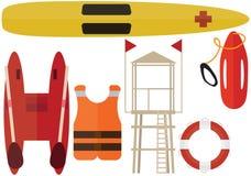 Βοήθεια σταθμών θερινών βαρκών πακέτων χρώματος σωτήρων παραλιών κινούμενων σχεδίων lifeguard απεικόνιση αποθεμάτων