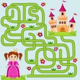 Βοηθήστε λίγη χαριτωμένη πριγκήπισσα να βρεί την πορεία στο κάστρο λαβύρινθος Παιχνίδι λαβυρίνθου για τα κατσίκια διανυσματική απεικόνιση
