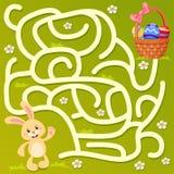 Βοηθήστε λίγο λαγουδάκι να βρεί την πορεία στο καλάθι Πάσχας με τα αυγά λαβύρινθος Παιχνίδι λαβυρίνθου για τα κατσίκια διανυσματική απεικόνιση