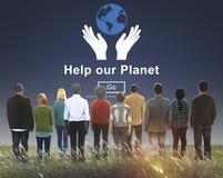 Βοηθήστε την περιβαλλοντική έννοια υποστήριξης συντήρησης πλανητών μας Στοκ Εικόνα