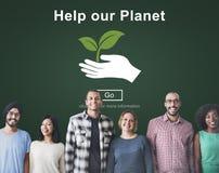 Βοηθήστε την περιβαλλοντική έννοια υποστήριξης συντήρησης πλανητών μας Στοκ εικόνα με δικαίωμα ελεύθερης χρήσης