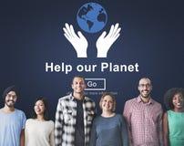 Βοηθήστε την περιβαλλοντική έννοια υποστήριξης συντήρησης πλανητών μας Στοκ Εικόνες