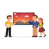 Βοηθητική παρουσιάζοντας οθόνη TV καταστημάτων στους πελάτες ελεύθερη απεικόνιση δικαιώματος